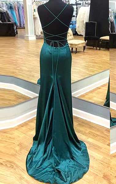 MACloth Halter Mermaid Satin Long Prom Dress Burgundy / Dark Green Formal Evening Gown