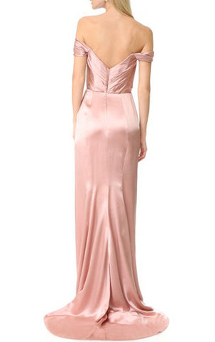 MACloth Off the Shoulder with Flowers Pink Evening Gown Simple Prom Dress