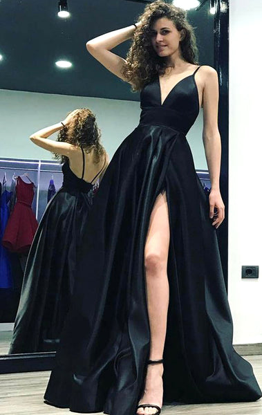 MACloth Straps Deep V neck Satin Long Prom Dress Black Formal Evening Gown