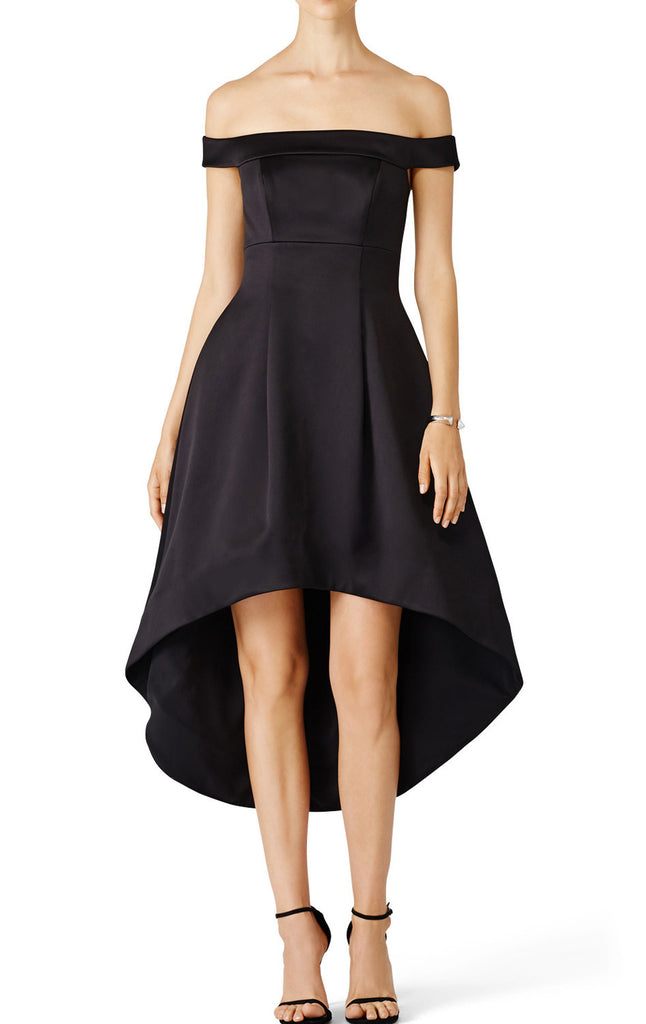 MACloth Off the Shoulder Satin Hi-Lo Prom Dress Black Cocktail Party Dress