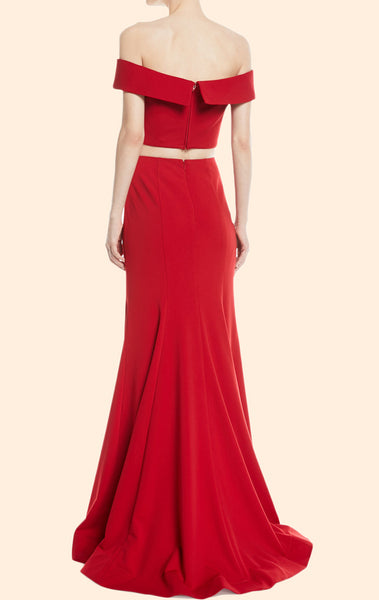 MACloth Mermaid Off the Shoulder Two Piece Red Prom Dress Elegant Formal Evening Gown 10736