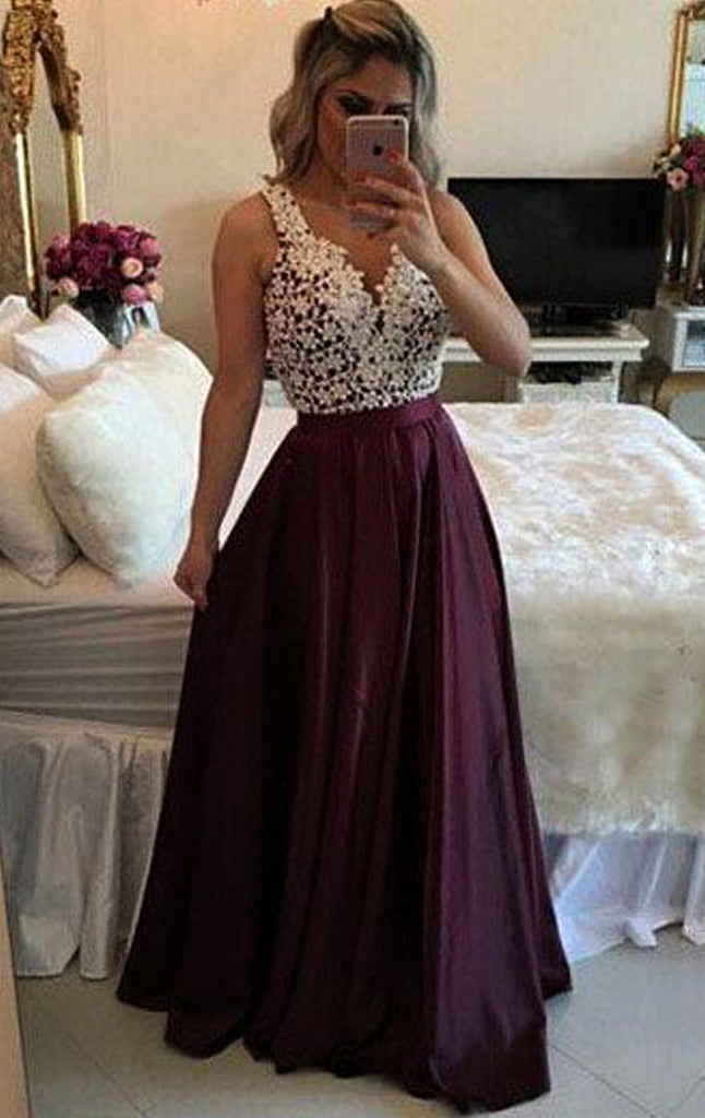 MACloth V Neck Lace Chiffon Long Prom Dress Plum Formal Evening Gown