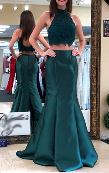 MACloth Mermaid High Neck Lace Satin Long Prom Dress Teal Formal Evening Gown
