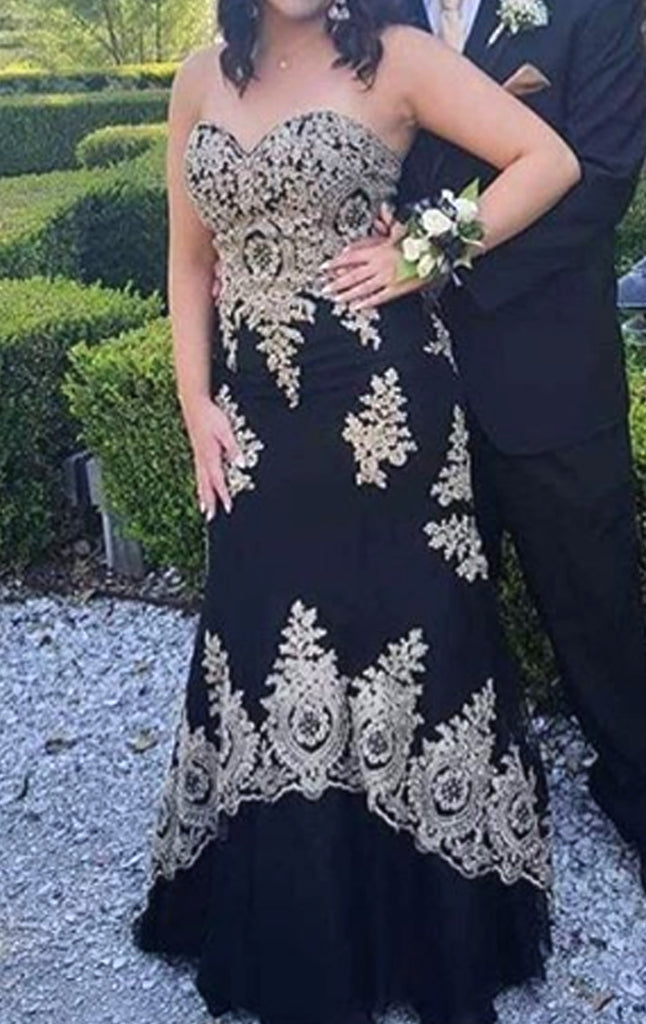 MACloth Mermaid Strapless Lace Long Prom Dress Black Formal Evening Gown