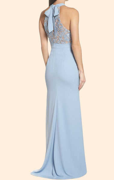 MACloth Mermaid Halter Lace Jersey Long Prom Dress Sky Blue Formal Evening Gown