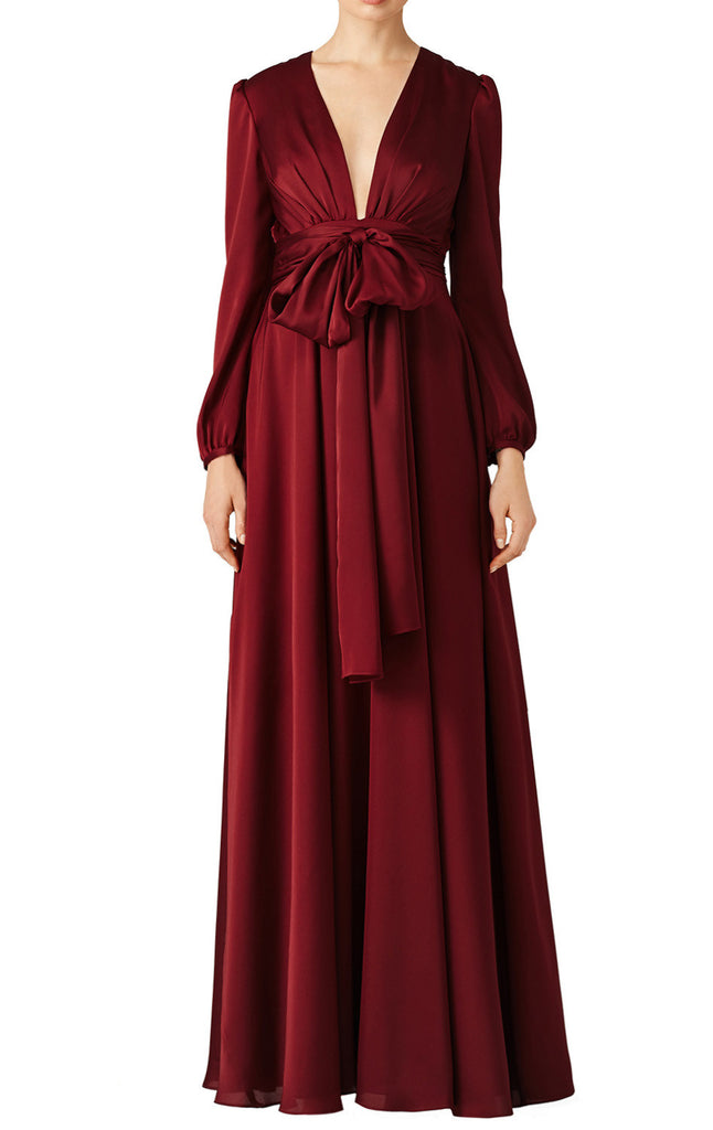 MACloth Long Sleeve V Neck Evening Gown Burgundy Mother of the Brides Dress