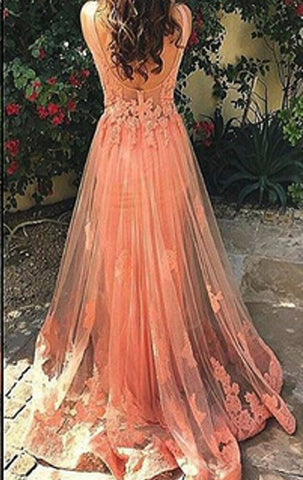 26d26404a693 ... MACloth Illusion Lace Tulle Long Prom Dress Coral Formal Evening Gown