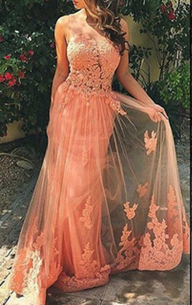 MACloth Illusion Lace Tulle Long Prom Dress Coral Formal Evening Gown