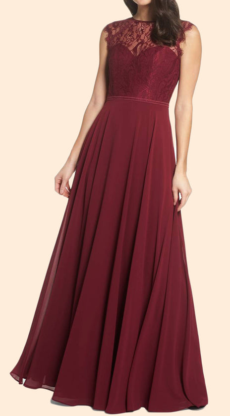 MACloth Cap Sleeves Lace Chiffon Long Prom Dress Burgundy Formal Evening Gown