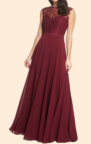 MACloth Cap Sleeves Lace Chiffon Long Prom Dress Burgundy Formal Evening  Gown ...