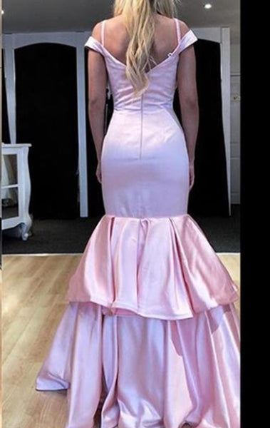 MACloth Off the Shoulder Tiered Long Prom Dress Pink Formal Evening Gown 10745