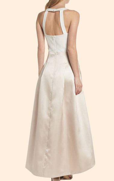 MACloth Halter High Low Satin Prom Dress Ivory Wedding Party Formal Gown