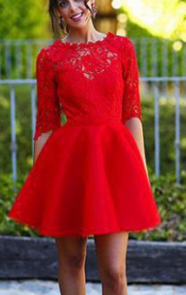 MACloth Half Sleeves Lace Satin Mini Prom Homecoming Dress Red Wedding Party Dress