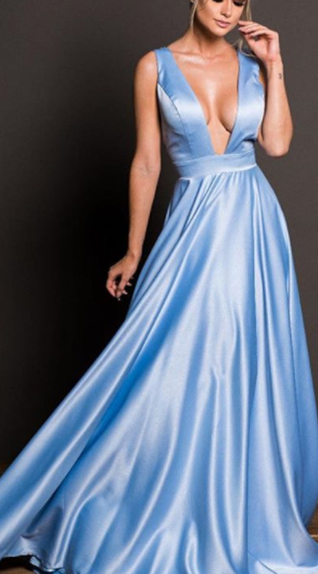 MACloth Deep V Neck Satin Long Prom Dress Sky Blue Formal Evening Gown