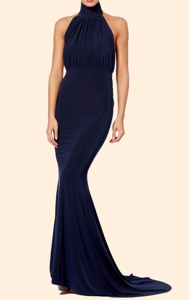 MACloth High Neck Mermaid Jersey Long Prom Dress Dark Navy Formal Evening Gown