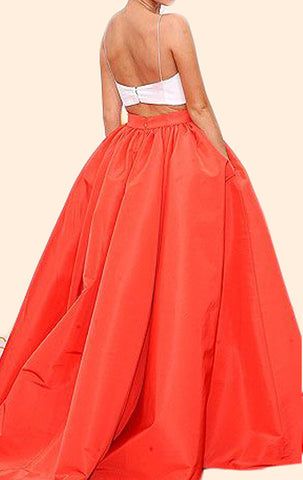 81d5aa4b005e MACloth Two Piece Ball Gown Orange Prom Dress Satin Formal Evening Gow
