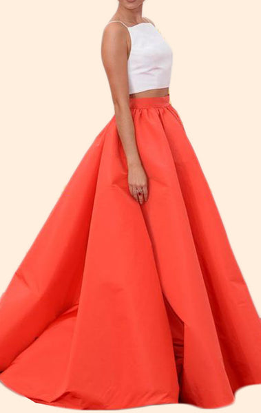 MACloth Two Piece Ball Gown Orange Prom Dress Satin Formal Evening Gown