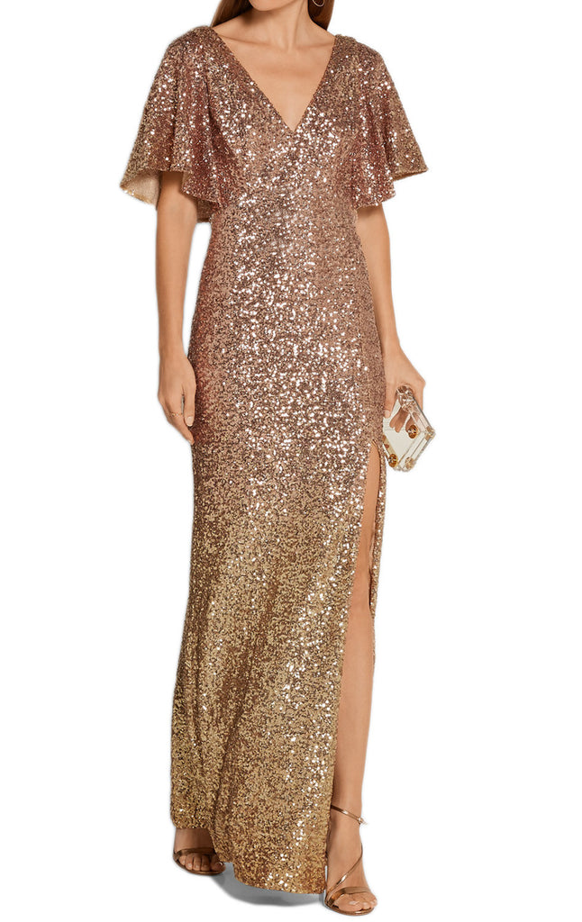 MACloth Short Sleeves V Neck Sequin Gold Evening Gown with Slit