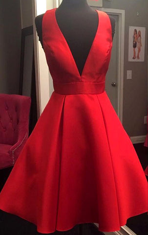 46a88c30955 MACloth Deep V Neck Mini Prom Homecoming Dress Red Wedding Party Formal Gown  ...