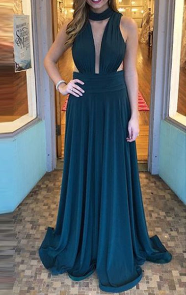 MACloth Halter Deep V Neck Jersey Teal Prom Dress Simple Formal Evening Gown