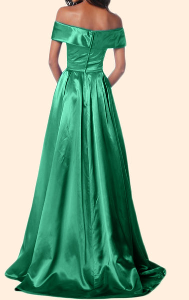 MACloth Off the Shoulder Long Prom Dress Green Formal Evening Gown
