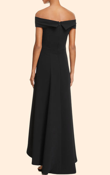 MACloth Off the Shoulder High Low Prom Dress Black Formal Evening Gown
