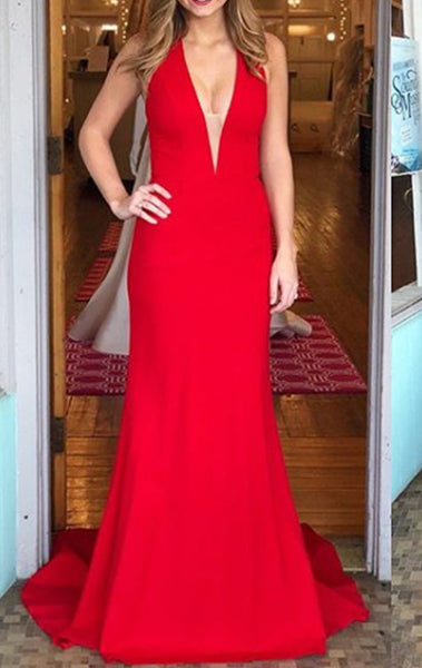 MACloth Mermaid Halter V neck Long Prom Dress Red Formal Evening Gown