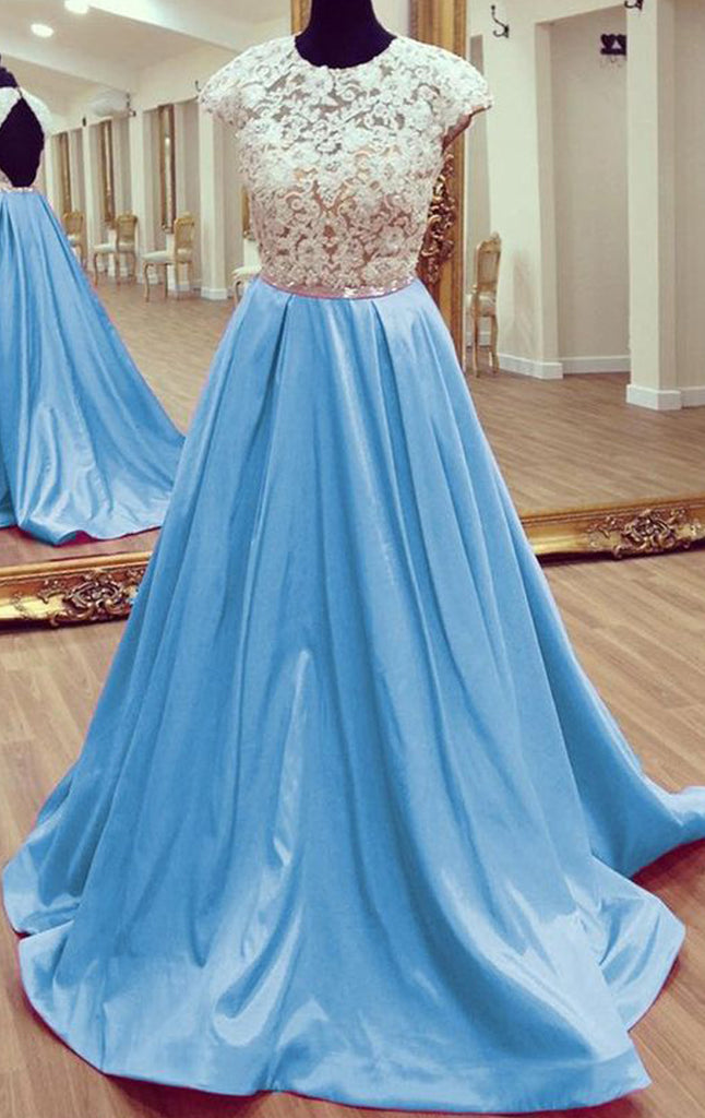 MACloth Cap Sleeves O Neck Lace Satin Long Prom Dress Sky Blue Formal Evening Gown
