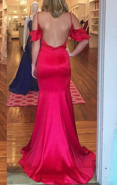 MACloth Sheath Off the Shoulder Satin Prom Dress Red Formal Evening Gown
