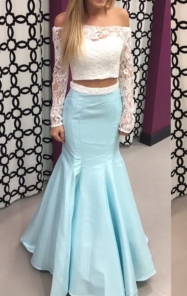 506049d1902 MACloth Off the Shoulder Long Sleeves 2 Piece Prom Dress Sky Blue Form