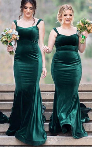 MACloth Mermaid Straps Velvet Long Bridesmaid Dress Green Formal Evening Gown