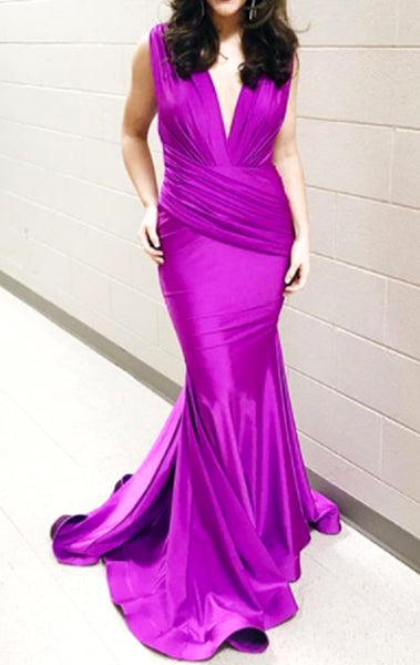 MACloth Mermaid Deep V Neck Jersey Long Prom Dress Fuchsia Formal Evening Gown