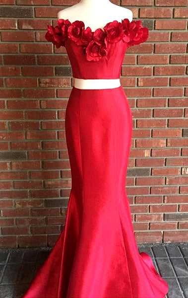 MACloth Mermaid Off the Shoulder 2 Piece Prom Dress Red Formal Evening Gown