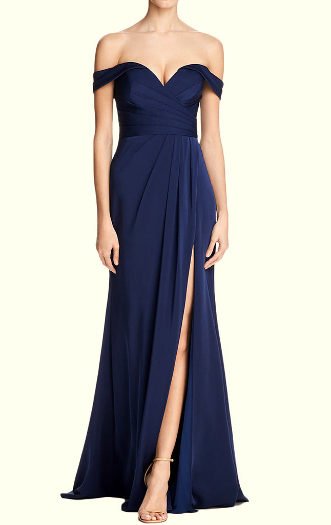 MACloth Off the Shoulder Simple Prom Dress Dark Navy Formal Evening Gown