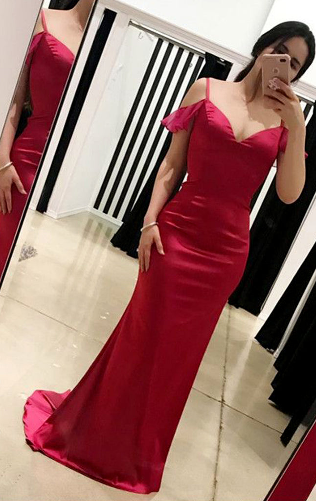 MACloth Off the Shoulder Sheath Long Prom Dress Fuchsia Formal Evening Gown