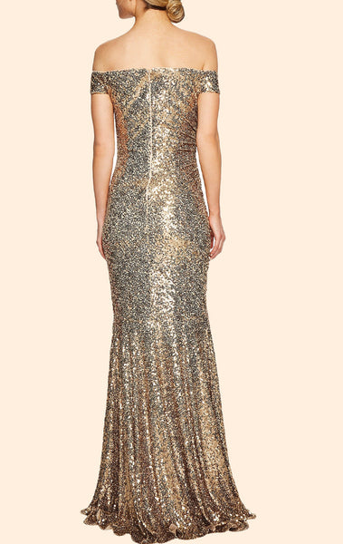 MACloth Off the Shoulder Sheath Sequin Long Prom Dress Simple Gold Formal Evening Gown