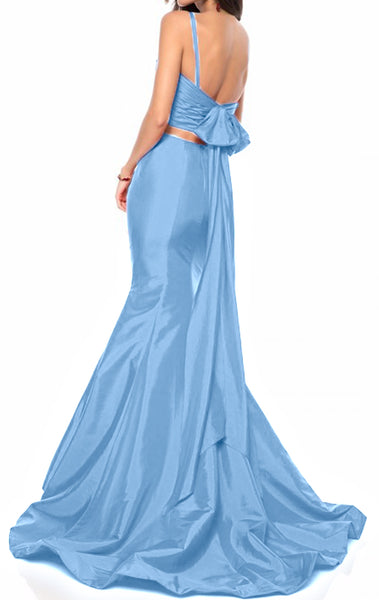 MACloth Mermaid 2 Piece V Neck Long Prom Dress Taffeta Blue Formal Evening Gown