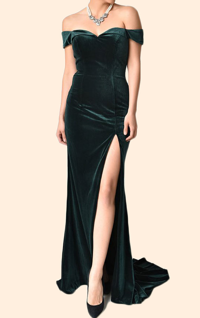 MACloth Off the Shoulder Sheath Long Prom Dress Velvet Formal Evening Gown