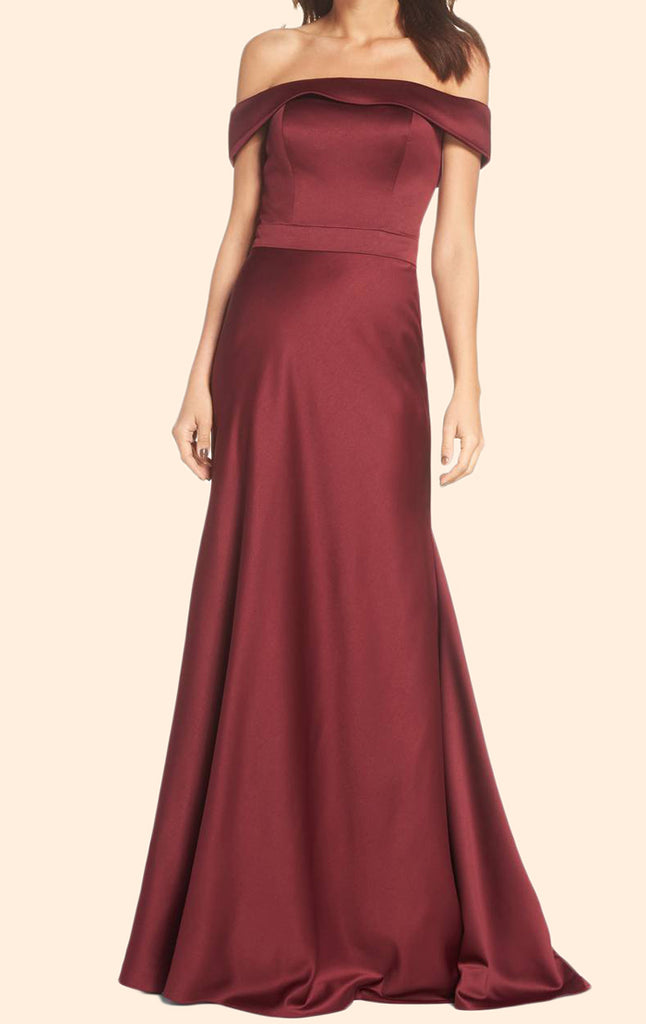 MACloth Sheath Off the Shoulder Long Prom Dress Satin Burgundy Formal Evening Gown
