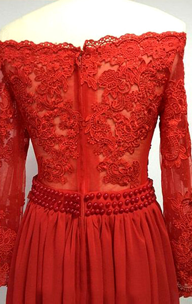 MACloth Off the Shoulder Long Sleeves Lace Chiffon Long Prom Dress Red Formal Evening Gown