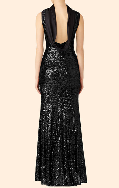 MACloth Sheath High Neck Sequin Long Evening Gown Black Wedding Party Formal Gown