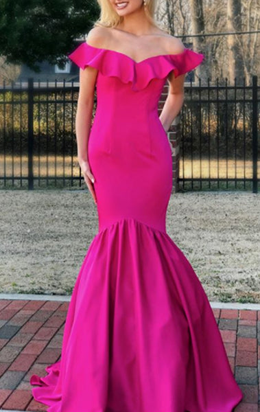 MACloth Mermaid Off the Shoulder Fuchsia Prom Dress Satin Formal Evening Gown