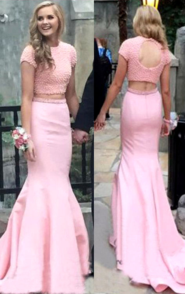 Macloth Cap Sleeves Mermaid 2 Piece Prom Dress Pink Formal Evening Gow