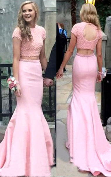 MACloth Cap Sleeves Mermaid 2 Piece Prom Dress Pink Formal Evening Gown