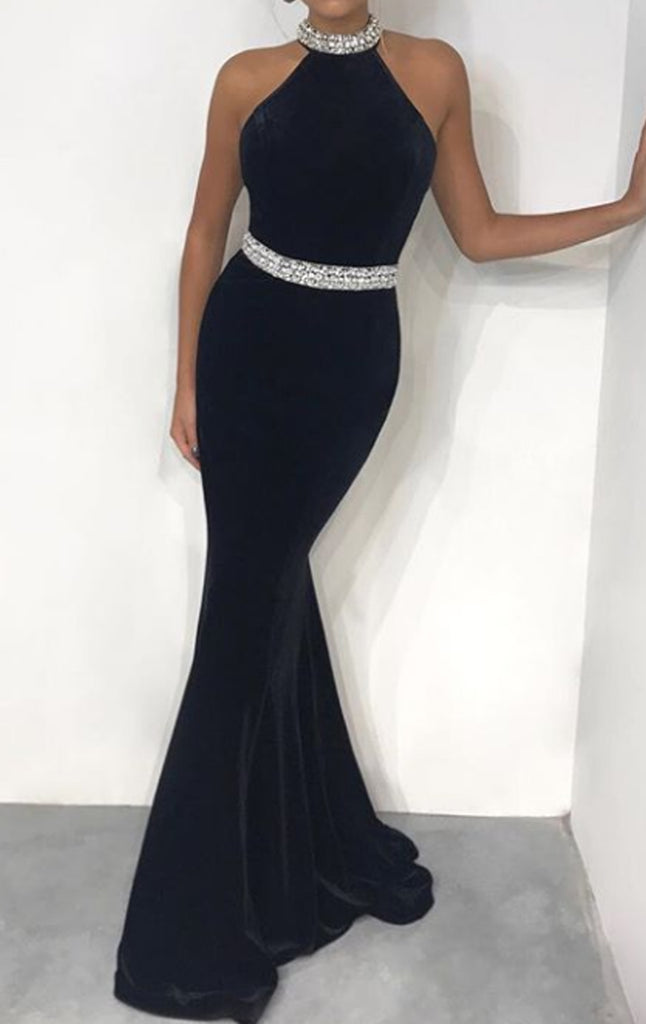 MACloth Halter Mermaid Black Velvet Long Prom Dress Elegant Formal Evening Gown