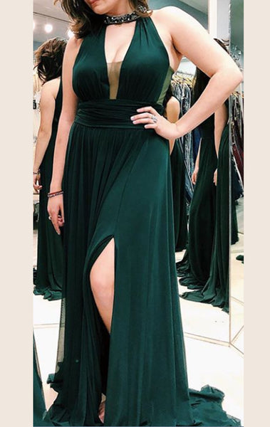 MACloth Haler Deep V Neck Jersey Long Prom Dress Dark Navy Formal Evening Gown