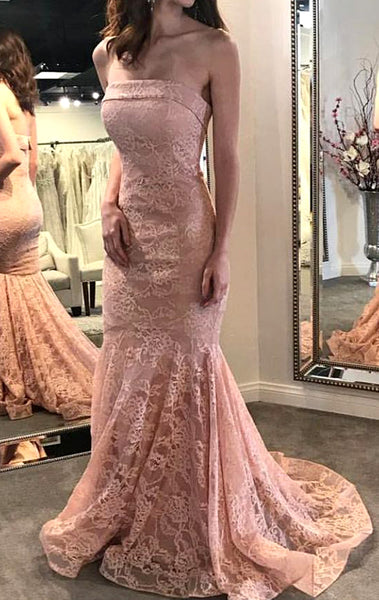 MACloth Mermaid Strapless Lace Long Prom Dress Pink Formal Evening Gown