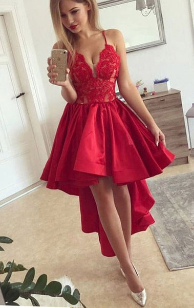 MACloth Straps V Neck Lace Taffeta High Low Prom Dress Red Formal Evening Gown