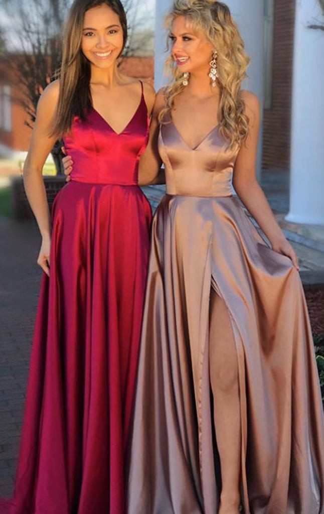 MACloth Straps V Neck Satin Long Prom Dress with Slit Wine Red / Champagne Formal Evening Gown