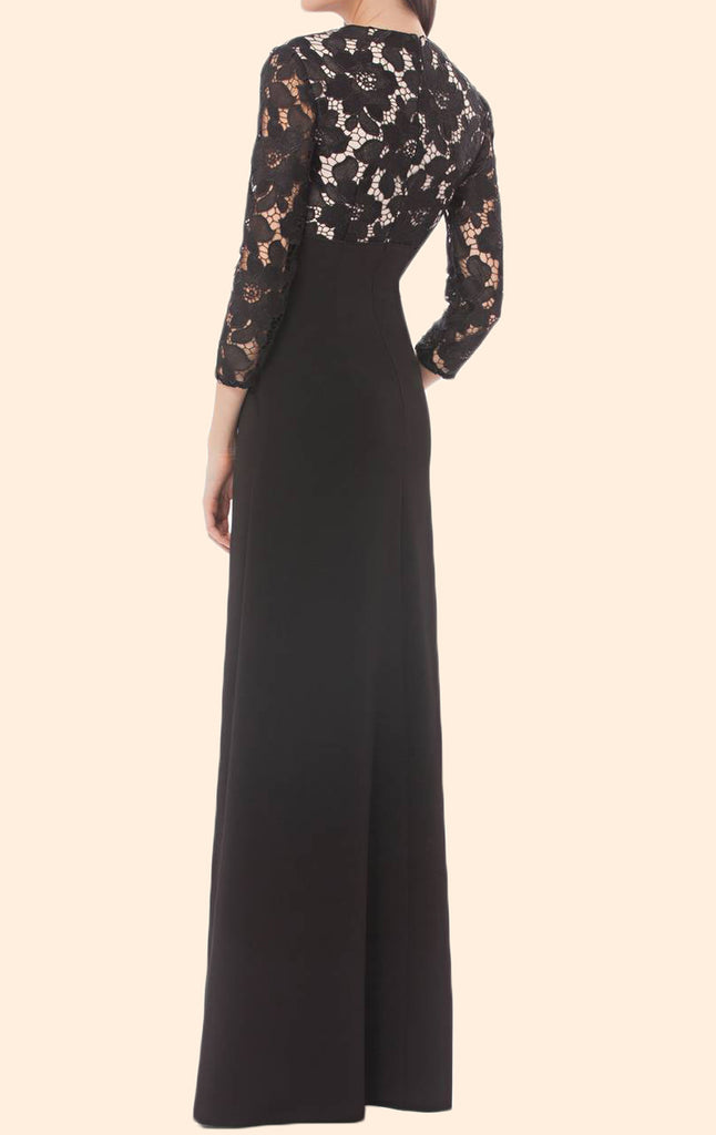 MACloth 3/4 Sleeves Lace Chiffon Long Mother of the Bride Dress Black